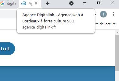 Balise Title dans l'onglet du navigateur web