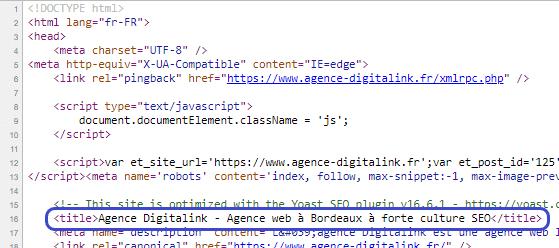 Balise title dans le code source