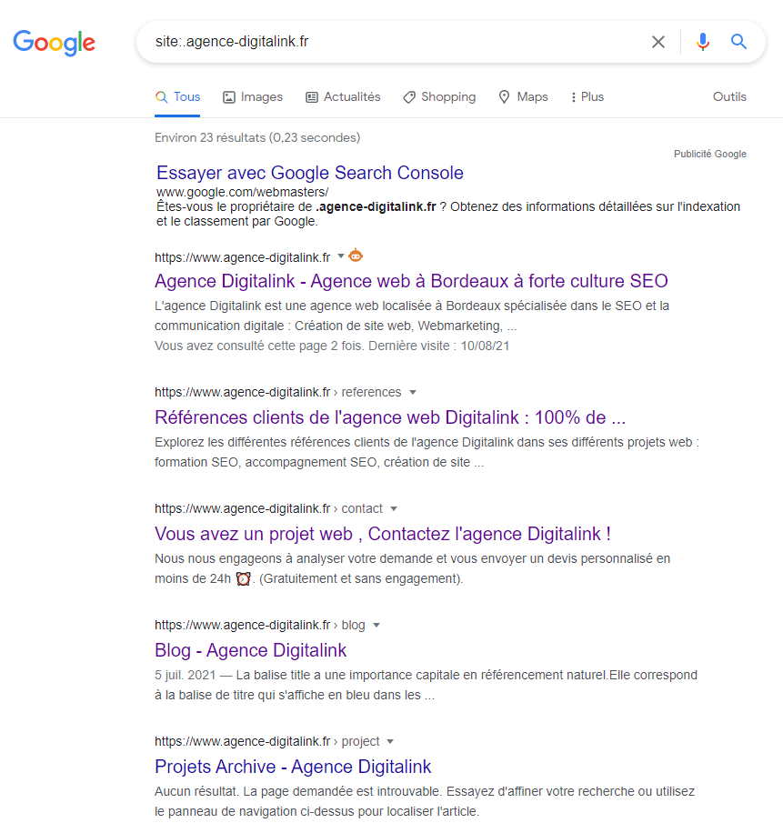 Commande site pour voir les pages indexées