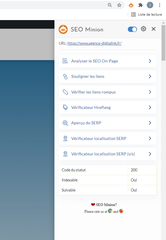 Menu du SeoMinion , outil d'analyse de mot-clé